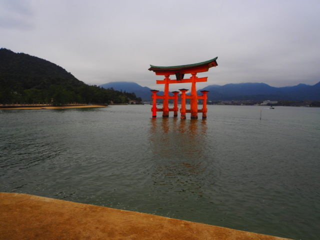 le célèbre torii dans l'eau
