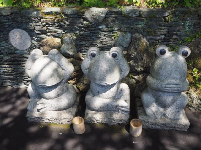 les singes de la sagesse version grenouille