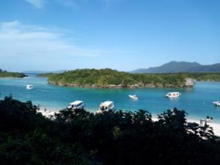 vue sur Kabira Bay et ses bateaux