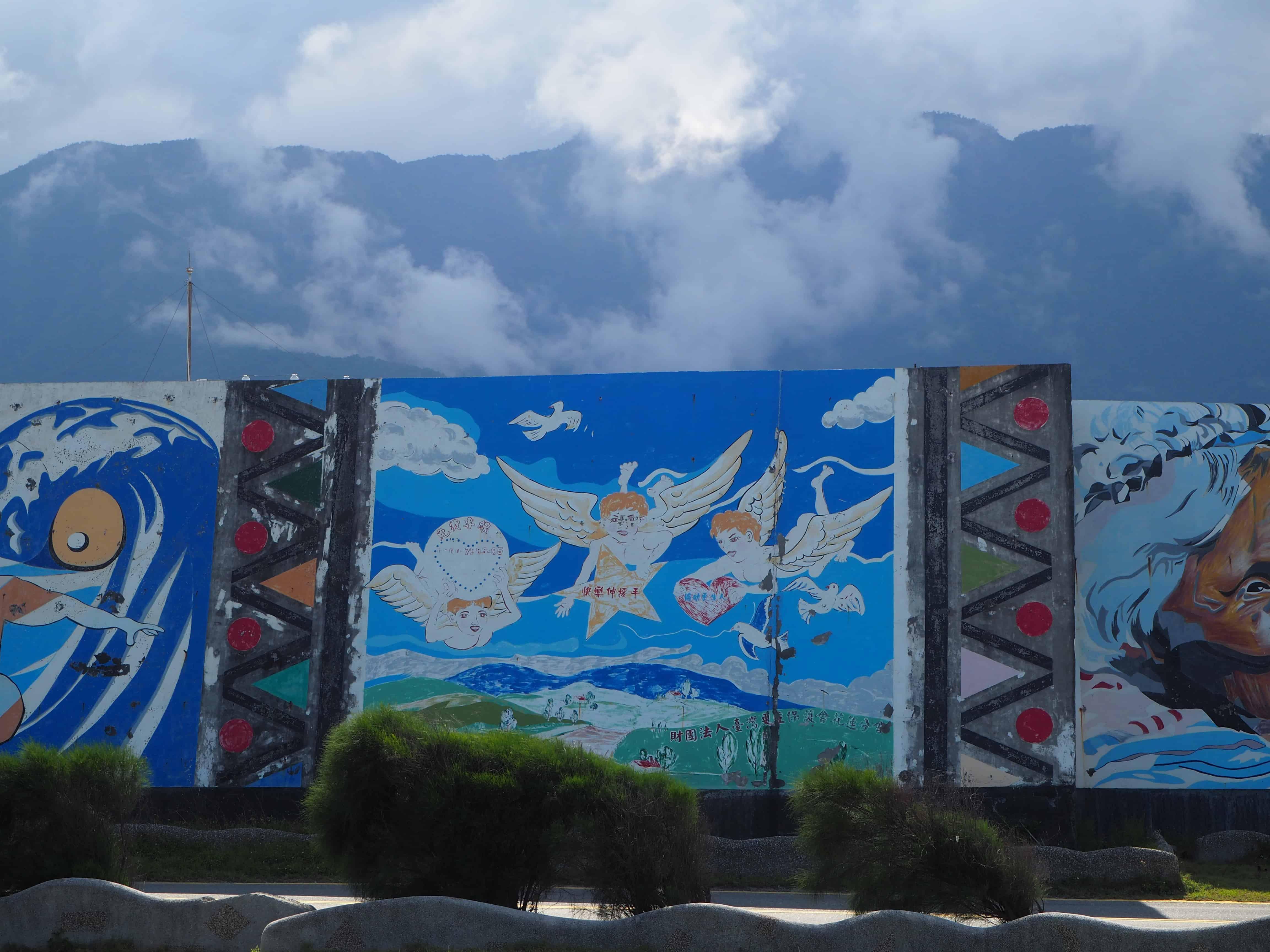 street art avec la montagne en fond